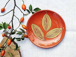Nádoby - Miska-tanierik hnedý so žltými listami - 7866577_