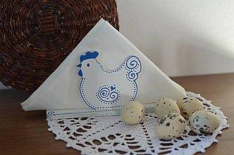 Dekorácie - Stojan na servítky modrá sliepočka - 7865275_