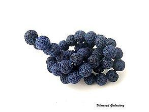 Korálky - Lávové korálky 8 mm - tmavo modré - 7867663_