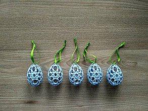 Dekorácie - Háčkované vajíčka modré - 7866551_