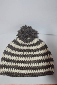Iné - Hnedo-biela háčkovaná čiapočka aj pre dospelých - 7866123_