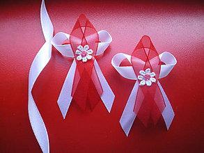 Pierka - svadobné pierko bielo- červené - 7865844_