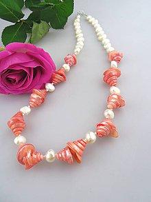 Náhrdelníky - perly pravé mušle a striebro náhrdelník - 7865091_