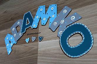 Tabuľky - 10 cm drevené písmenká, maľované ADAMKO - 7863230_