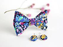 Šatky - Exkluzívny pestrofarebný dámsky motýlik s náušnicami - 7865771_