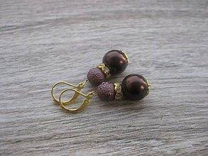 Náušnice - Perlové väčšie (Hnedo zlaté perlové č.767) - 7866539_