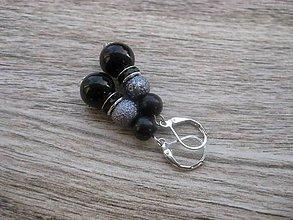 Náušnice - Perlové väčšie (Čierno sivé perlové č.772) - 7866777_