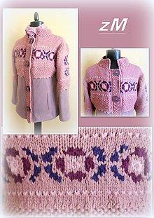 Kabáty - Kabátik s pletenými kvietkami ( 36 - 38) - 7863712_