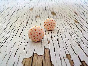 Náušnice - biele ďobky so zlatými bodkami - 7867016_