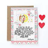 Papiernictvo - Mesačný svit (valentínka s textom) - kvety a srdiečka - 7863170_