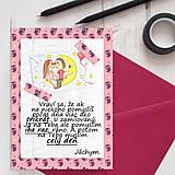 Papiernictvo - Mesačný svit (valentínka s textom) - kvety a srdiečka - 7863173_