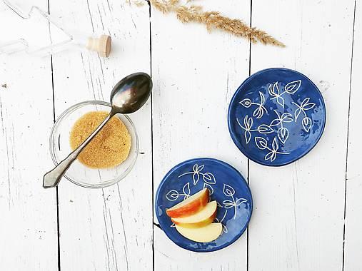Nádoby - Keramický tanierik malý modrotlačový - 7868922_
