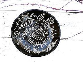 Nádoby - Keramická misa v škandinávskom štýle, čierna s listami  - 7868418_