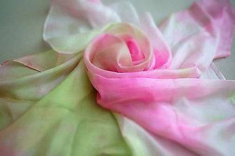 Šatky - hodvábna šatka Green & Pink - 7871342_