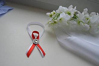 Pierka - ozdoby na fľaše bielo-červené - 7869430_