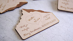 - Gravírované drevené svadobné oznámenie Hory - 7868719_