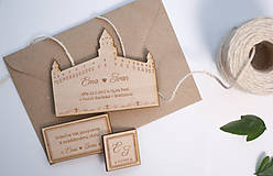 Gravírované drevené svadobné oznámenie Bratislava