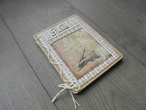 Papiernictvo - Vintage zápisník - Ruka s perom - 7871330_