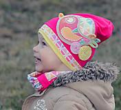 Detské čiapky - Prechodný setík s vtáčikom - 7871791_
