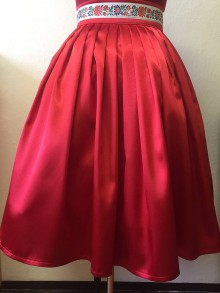 Sukne - SUKŇA - saténová červená so stohou - 7872774_