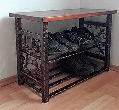 Nábytok - Kovaný botník s doskou na sedenie 70cm - 7871277_