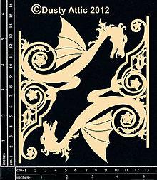Papier - Dusty Attic - Dragon Sconce - Drak stredoveký vývesný štít (lepenkové výrezy) - 7870132_