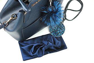 Ozdoby do vlasov - Luxusná saténová čelenka modrá - 7871628_