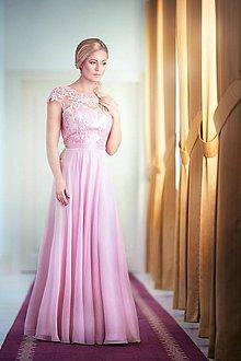 Šaty - Spoločenské šaty s kruhovou sukňou v púdrovej ružovej farbe - 7869293_