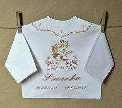 Detské oblečenie - vyšívaná košielka na krst - 7870612_