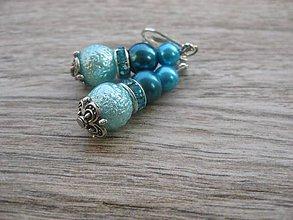 Náušnice - Perlové väčšie (Modré perlové č.775) - 7868992_
