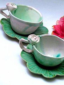 Nádoby - šálka s ružičkou s tanierikom - 7869321_