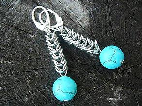 Náušnice - Tyrkenit chainmaille na postriebrených háčikoch - 7868354_