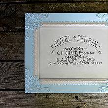 Rámiky - Vintage rámček pastelovo modrý - 7870711_