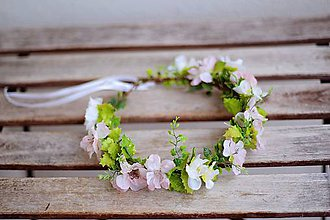 Ozdoby do vlasov - květinový věneček s květy třešně - 7871097_