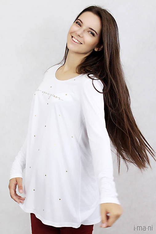 Dámske tričko biele BAMBUS 01 zlatá potlač GRACE