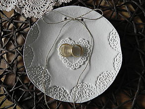 Darčeky pre svadobčanov - Mištička, tanierik na prstienky - čipka - 7875343_