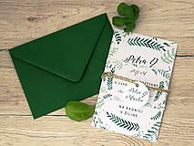Svadobné oznámenie green leaf