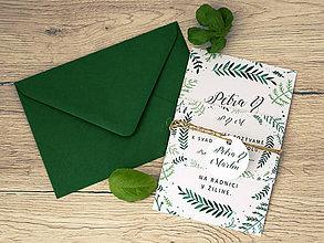 Papiernictvo - Svadobné oznámenie green leaf - 7874189_