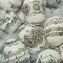 Papier - S979 - Servítky - Veľká noc, vajcia, kraslice, notový papier, hudba - 7873042_