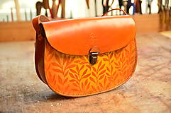 Kabelky - kožená kabelka PANACEA, vzor Bylinky, vintage oranžová - 7873105_