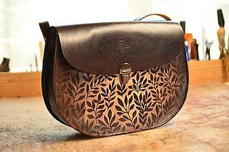Kabelky - kožená kabelka PANACEA L, vzor Bylinky, tmavohnedá - 7873145_