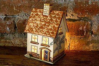 Svietidlá a sviečky - Keramický domček - Doma sa svieti I. - 7875767_