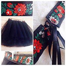 Sukne - Tylová sukňa s folklórnym opaskom - 7874489_