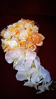 Kytice pre nevestu - Svadobná výzdoba na auto marhuľová - 7875022_