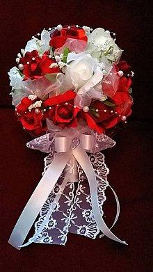 Kytice pre nevestu - Svadobná kytica červeno-biela - 7875112_