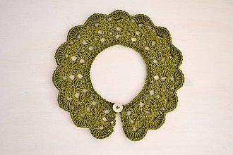Detské doplnky - Detský háčkovaný golierik - organic wool/cotton zelený - 7873887_