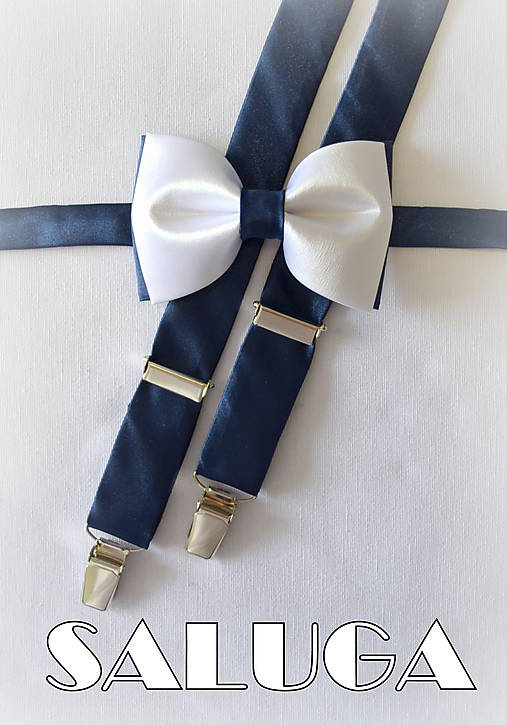 Pánsky bielo modrý motýlik + traky - tmavo modré