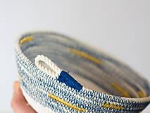 Dekorácie - Zľava 50%: Modrá bavlnená miska so zlatým detailom •• - 7876863_