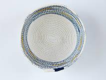 Dekorácie - Zľava 50%: Modrá bavlnená miska so zlatým detailom •• - 7876864_