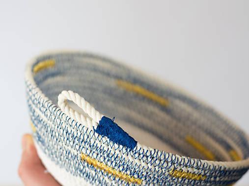 Zľava 50%: Modrá bavlnená miska so zlatým detailom ••